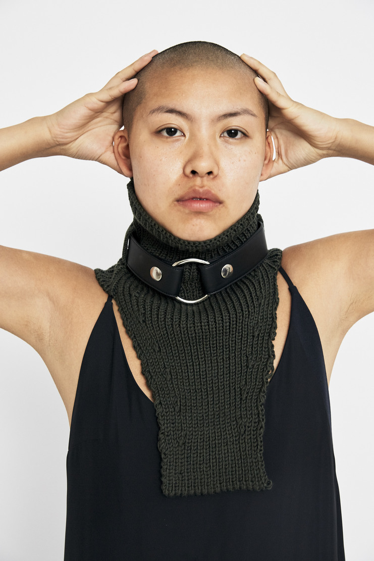 ALYX Green Neck Warmer wool leather ring scarf snood a/w 17 aw17 alix aleeks