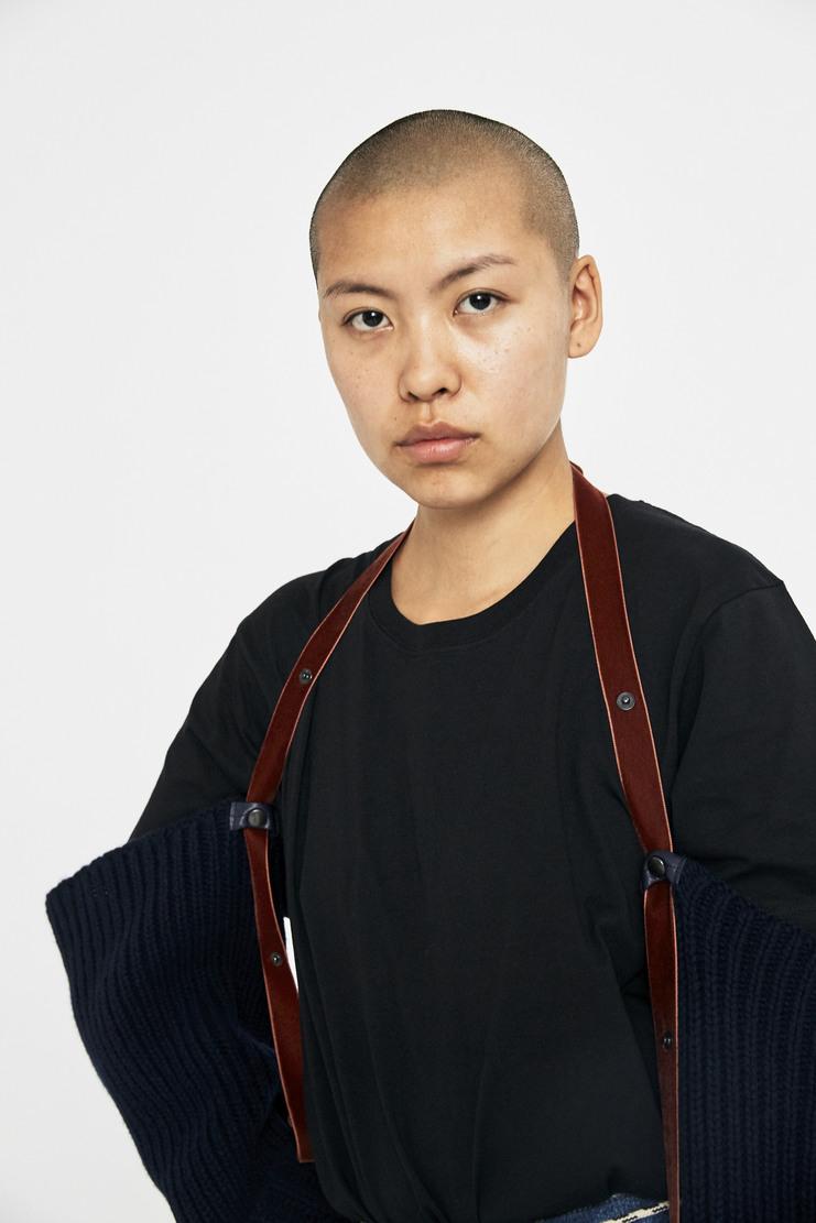 DELADA Hand Knitted Sleeves AW17 A/W17 Delarda Wool Knit Straps Navy Tan
