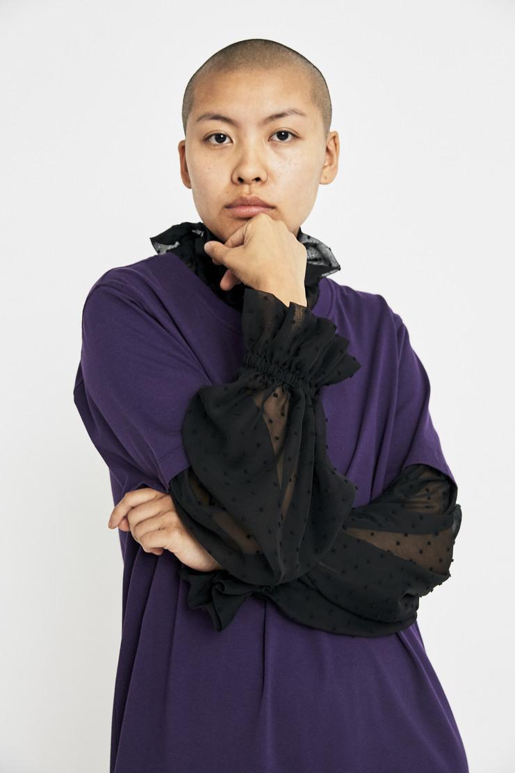 Maison Margiela Purple Jersey Chiffon Dress AW17 A/W17 Margeila MM Spotted Sleeves T-Shirt