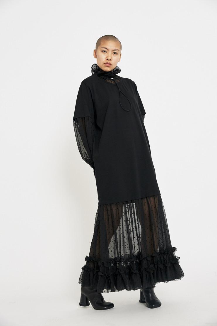 Maison Margiela Black Jersey Chiffon Dress AW17 A/W17 Margeila MM Spotted Sleeves T-Shirt