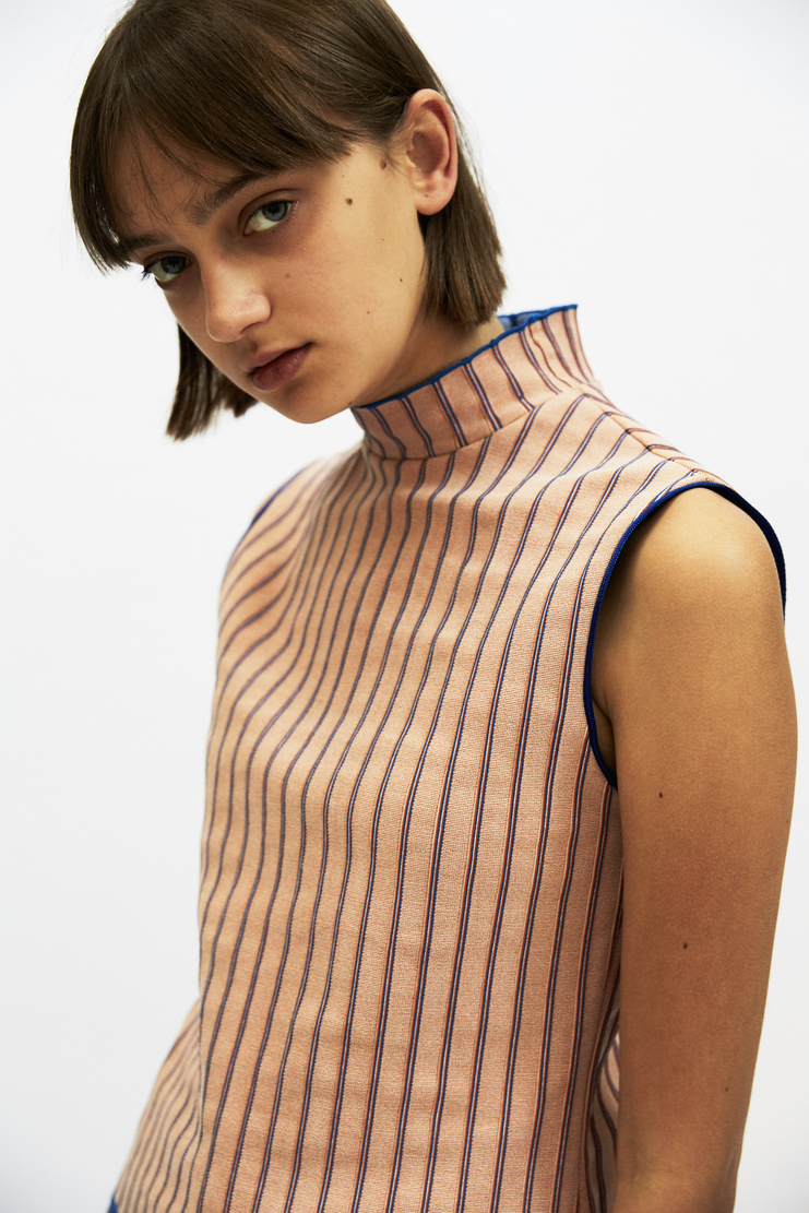 i-am-chen Sleeveless Striped Top AW17 A/W17 Stripe T-Shirt I AM CHEN iamchen ZHI Pink Blue