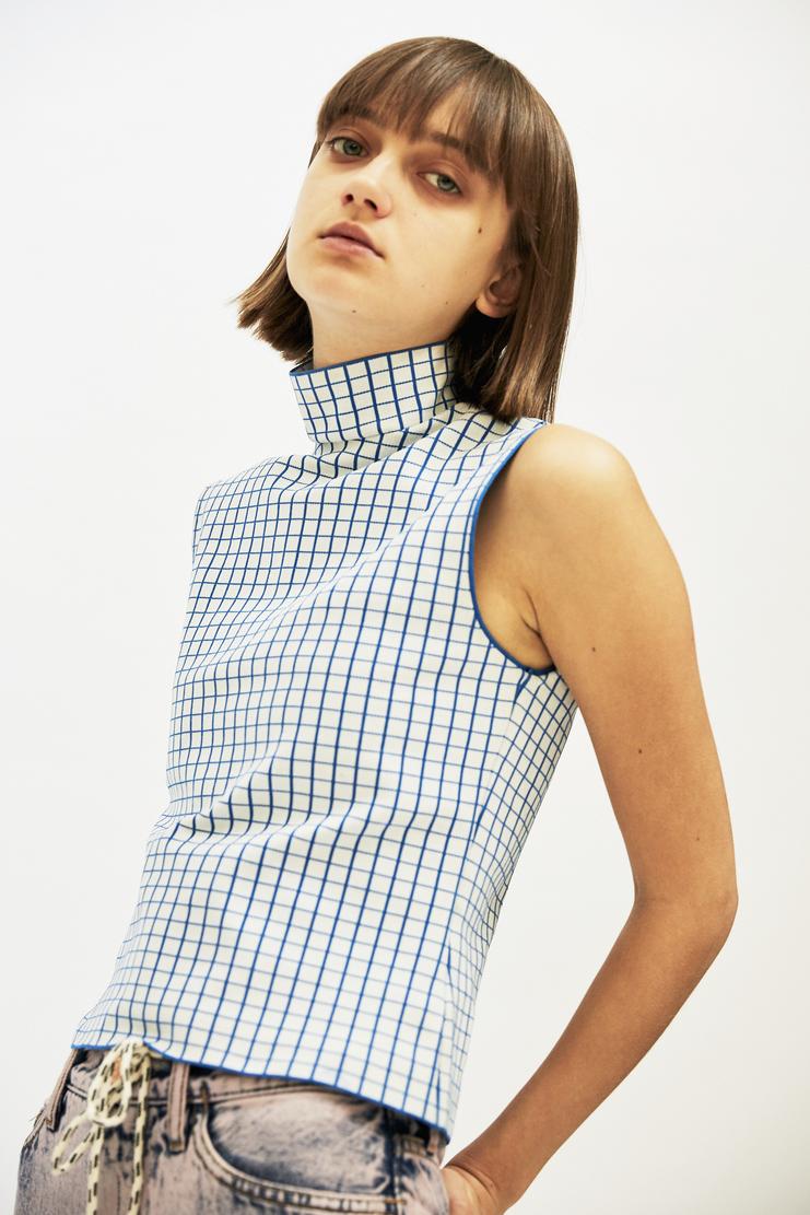 i-am-chen Blue Sleeveless Grid Top AW17 A/W17 T-Shirt I AM CHEN iamchen ZHI Blue White