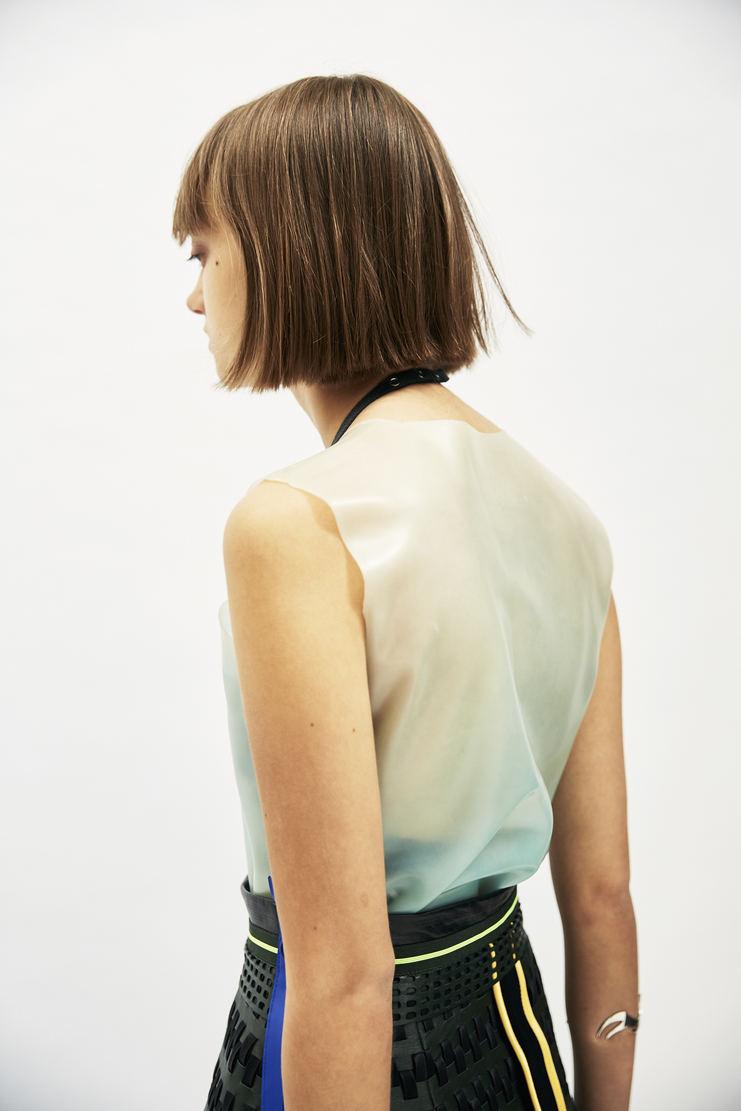 SAMUEL Gui YANG Blue Rubber Top AW17 A/W17 Sam Gee Translucent Spandex