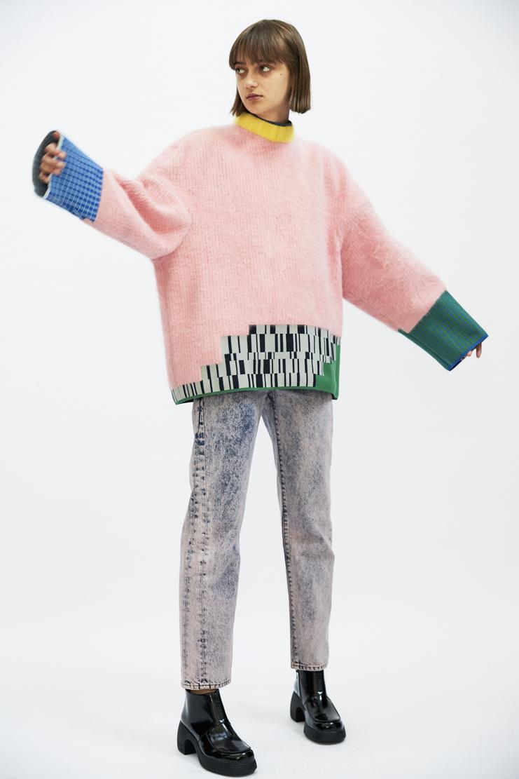 i-am-chen pink blue Jumper AW17 A/W17 Sweater Top I Am Chen Chem ZHI