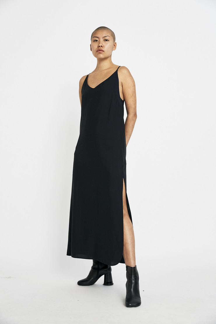 Tim Coppens Slip Dress AW17 A/W17 Copens Copenns Black Formal V-neck Panel