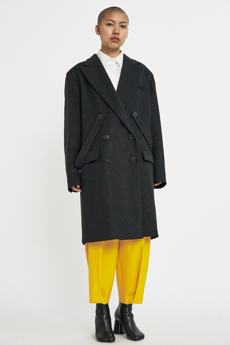 DELADA Double Breasted Coat AW17 A/W17 Delarda Overcoat Jacket Straps Buttons Black