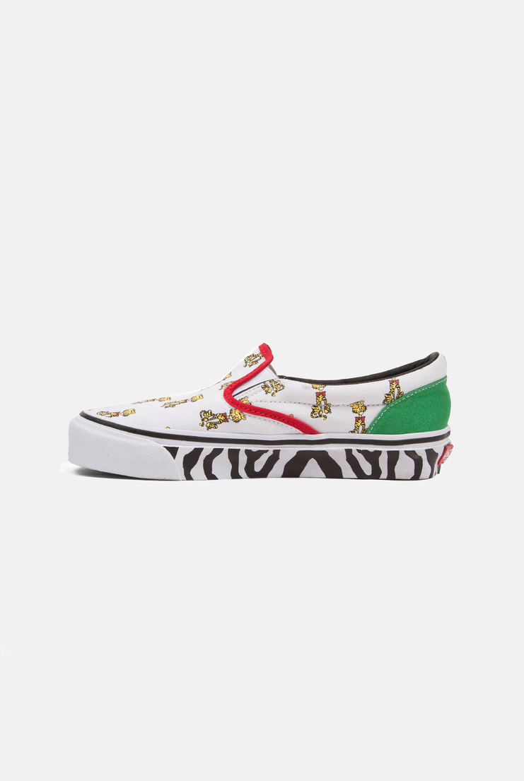 aries, vans, aries x vans, ariesxvans, collaboration, animal print, tiger, zebra, feminine, multi colour, multi coloured, multi-colour, multi-coloured, white, red, green, slip-ons, shoes, AW17