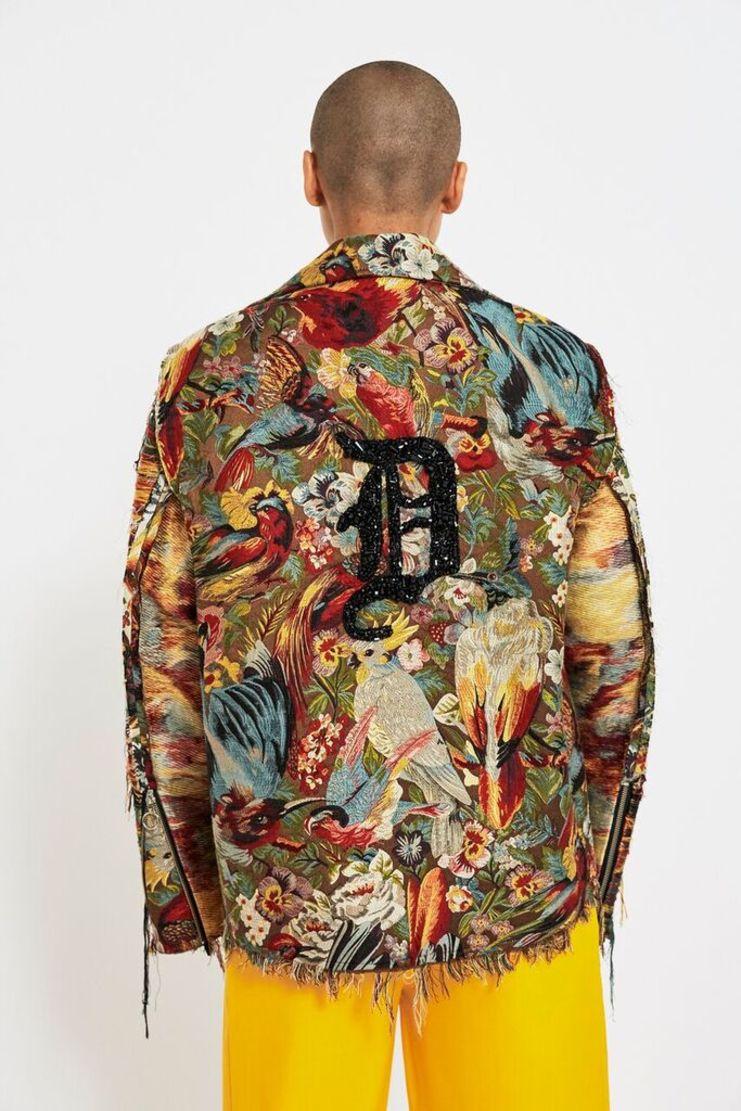 dilara findikoglu, birds of paradise, jacket, fantasy, statement, biker jacket, multi colour, multi-coloured, AW17, fashion forward, animal print
