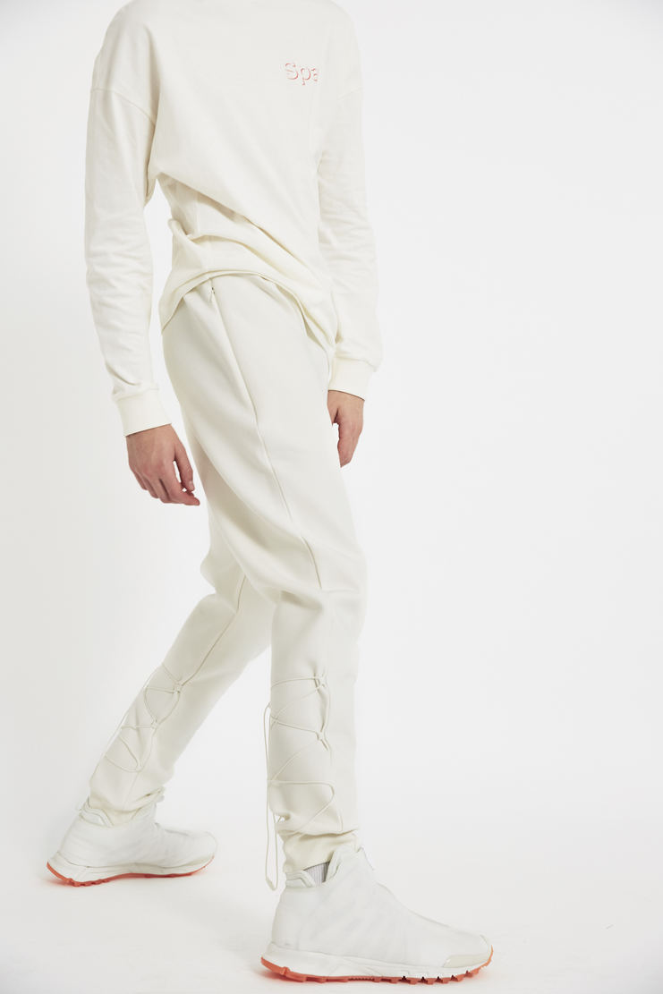 COTTWEILER x Reebok Chalk Sweatpants lace up elastic trackpants trousers sweat pant jogger joggers track pants cotweiler white pants aw17