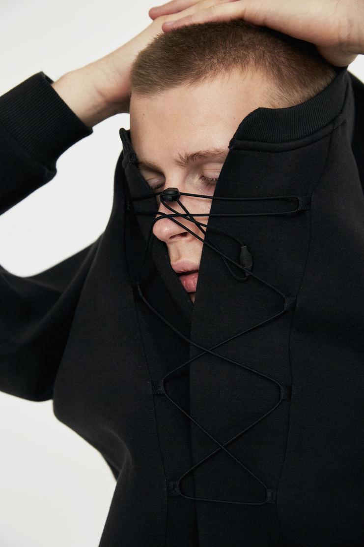 reebok x cottweiler, cottweiler, reebok, collaboration, black, sweatshirt, jumper, top, lfw, aw17, lace-up lace up elastic