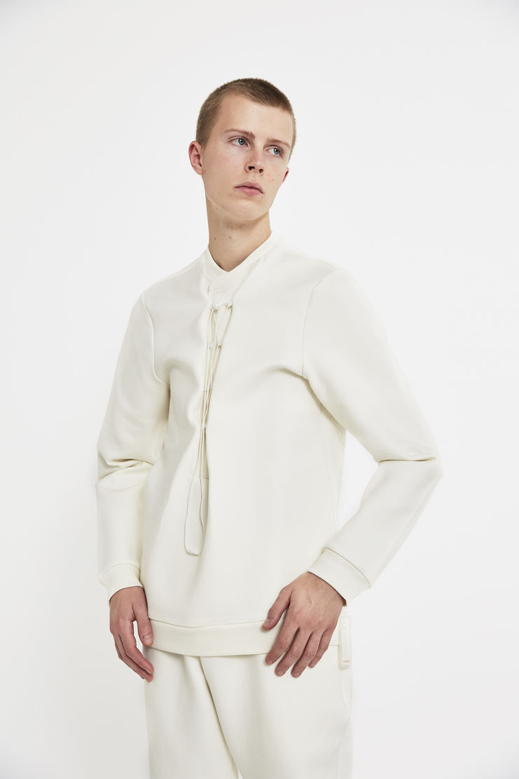 reebok x cottweiler, cottweiler, reebok, collaboration, cream, chalk, sweatshirt, jumper, top, lfw, aw17, lace up elastic, white