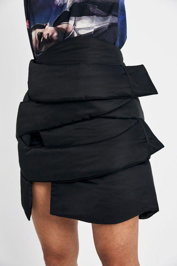 Marta Jakubowski Black Short Puffer Skirt AW17 A/W17 Martha Jacobowski Puffa