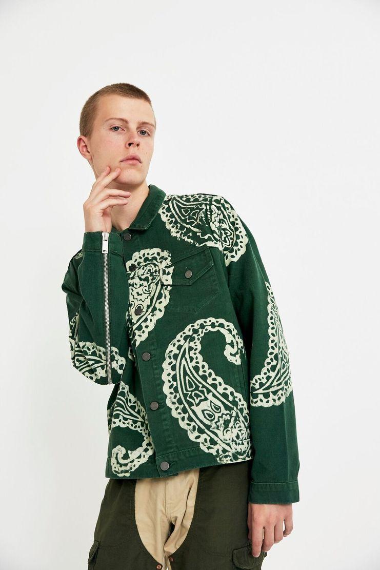 424, Denim, Trucker Jacket, Coat, LFW, AW17, Green, White, Monochrome, Men's Fashion, Fashion Week
