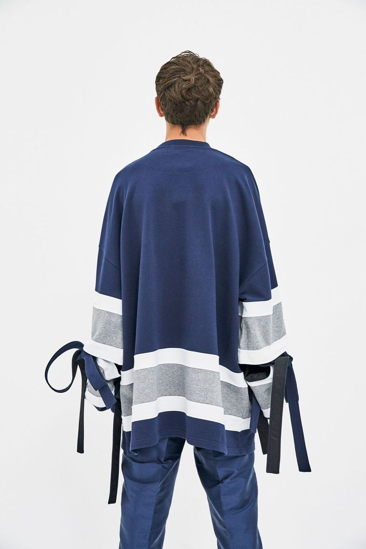 Y/Project France A/W 17 AW17 Y Project Navy Striped Sweater V Neck Blue  White Fashion Week PFW sleeves detachable adjustable