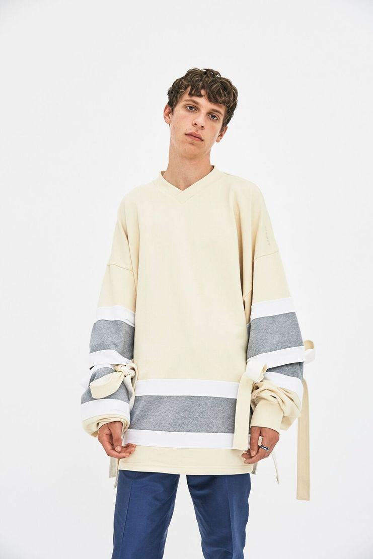 Y/Project France A/W 17 AW17 Y Project Navy Striped Sweater V Neck Blue  White Fashion Week PFW sleeves detachable adjustable beige