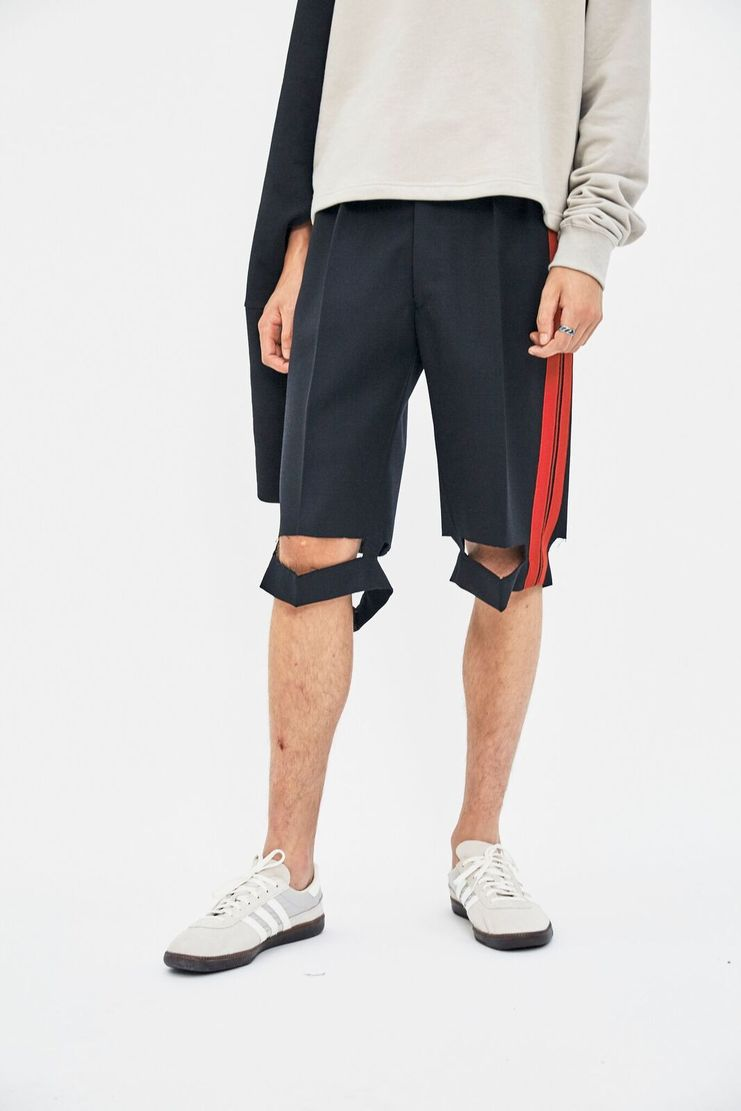 Maison Margiela Navy Wool Tricotine Shorts AW17 A/W17 Margeila Red MMM PFW France French