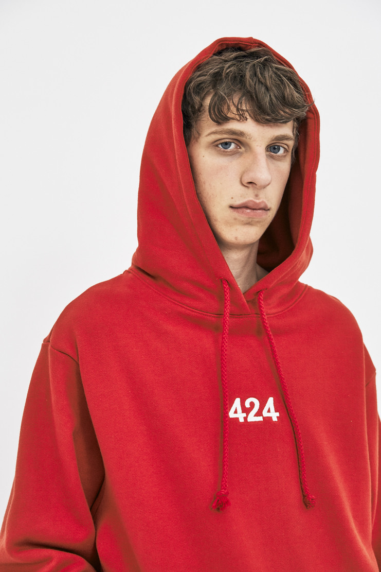 424 Alias Hoodie red cotton hood sweatshirt sweater jumper fourtwofour aw17 la california skatewear 17