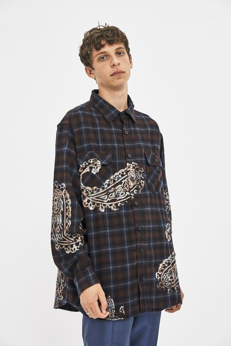 424 fourtwofour aw17 la california skatewear 17 cotton flannel tartan shirt button pockets mens skate