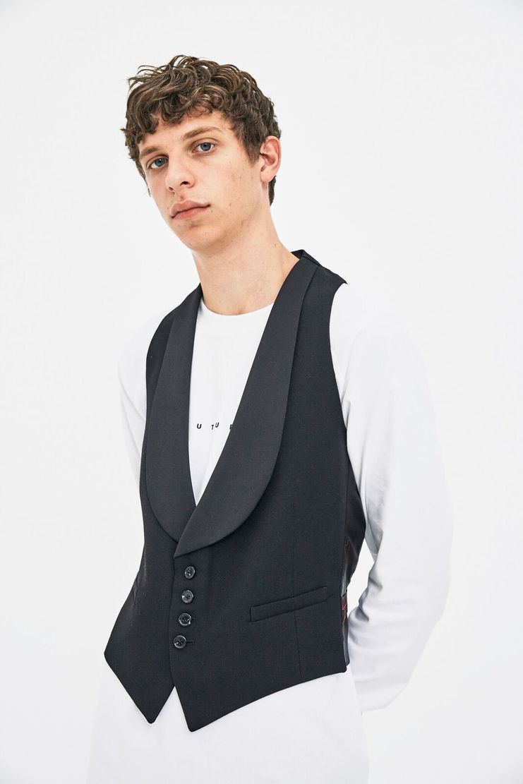Raf Simons Black Waistcoat Gilet Top Red AW17 A/W 17 Tailored Suit Tailoring Paris New York