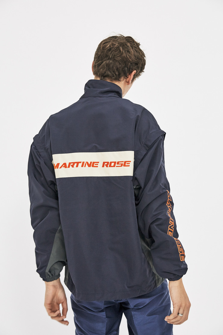 Martine Rose Sports Jacket with Detachable Sleeves gilet zip parka windbreaker coat outerwear track aw17 lfw martin blue red