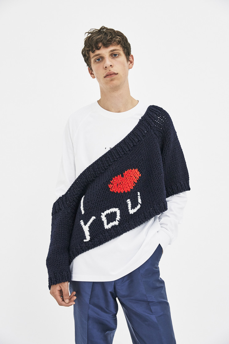 Raf Simons I Love You Sweater long sleeve raglan sleeves oversized off the shoulder i heart you a/w 17 aw17 simmons
