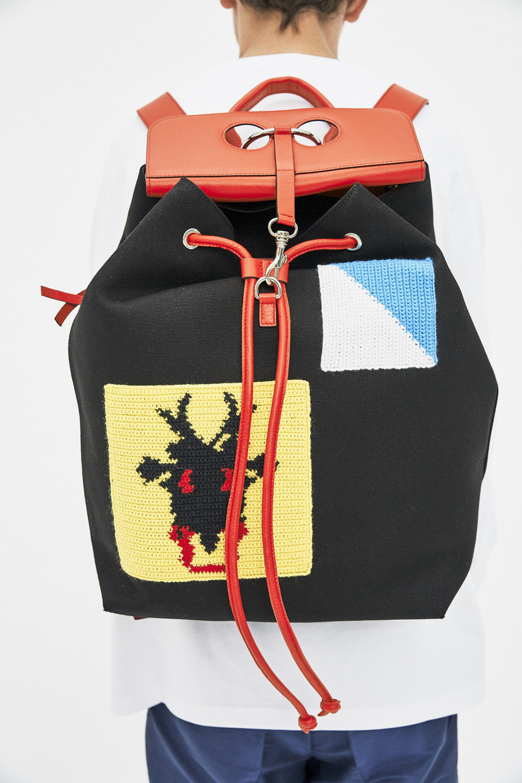 J.W. Anderson Patch Pierce Backpack AW17 A/W 17 JW J.W Andersen Bag Rucksack Patches Crochet Black Red