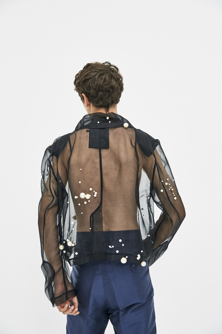 Mesh Jacket with Pearls black transparent aw17 simon lee Ximon Lee fw17 long sleeve