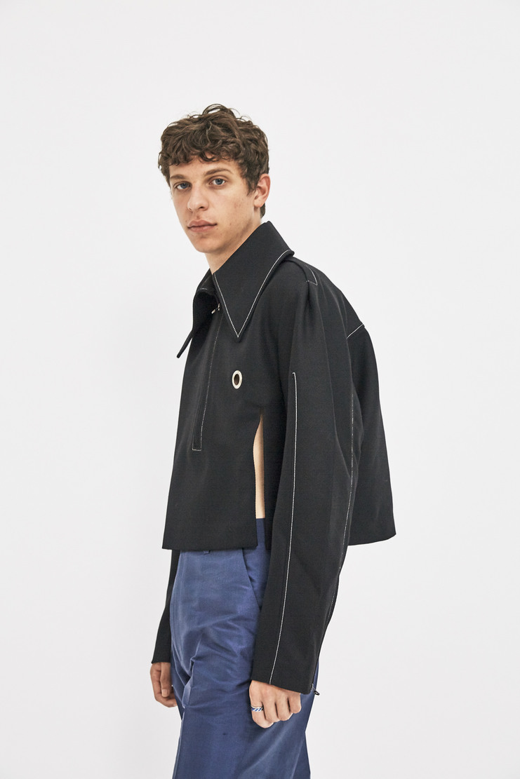 Ximon Lee Heavy Twill Pullover AW17 FW17 Black Wool Jacket Cropped