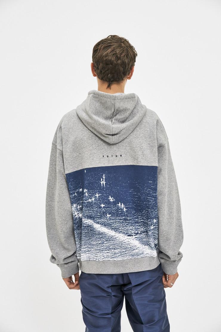 Future Cote Zip Up Hoddie AW17 FW17 grey print blue jumper hoodie hoody cotton soft future fashion clothing brand