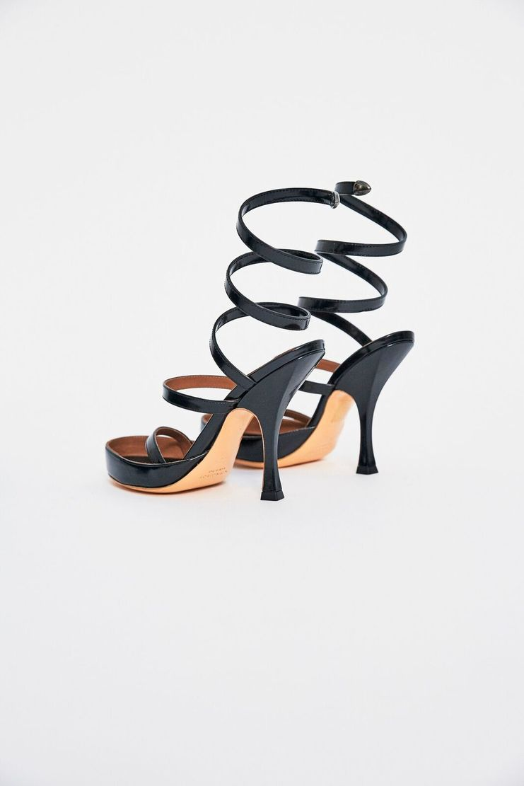 Y/Project Spiral Shoes Leather Heels Spiral Black Pumps Court Shoes Open-Toed AW17 FW17 A/W 17 F/W 17