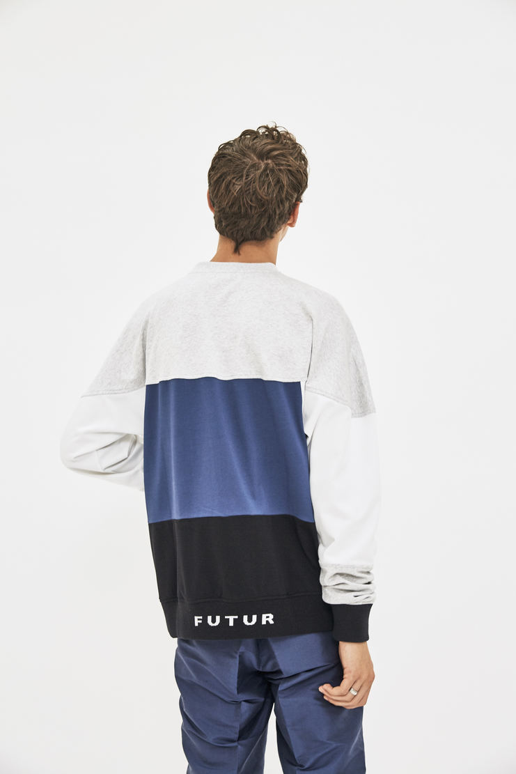 Futur HW Tricolour Crewneck Sweater Jumper long sleeve top tshirt blue grey multicolour