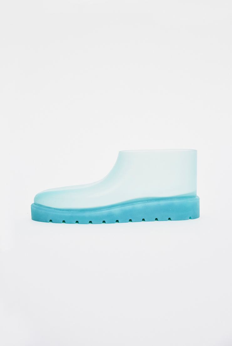 SAMUEL Gui YANG Blue Low Rubber Boots AW17 A/W17 Sam Gee Spandex Translucent Blue