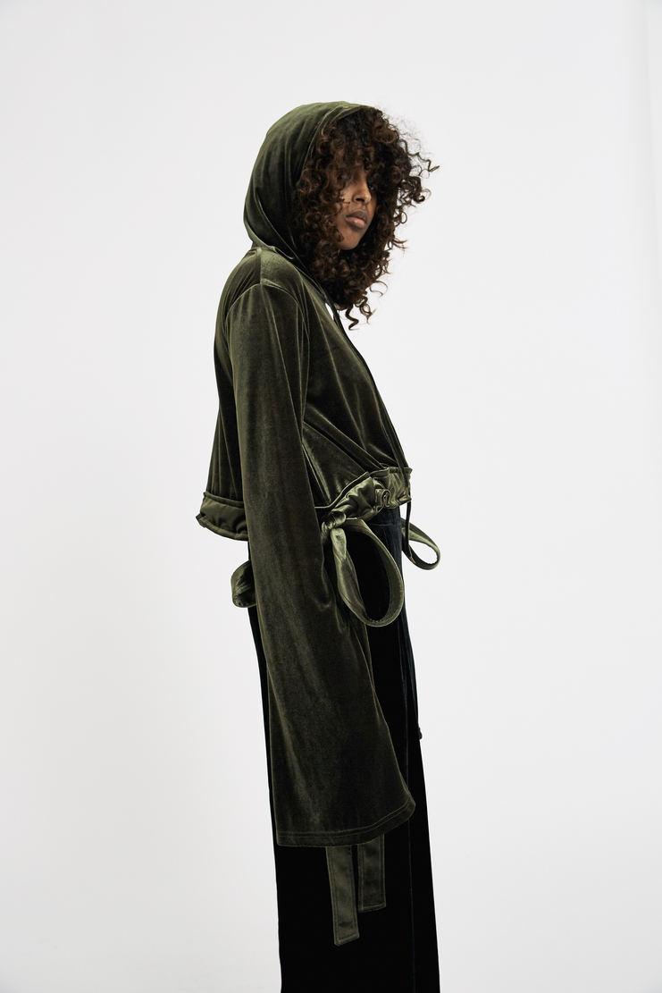 Y/Project Cropped Velvet Tie Hoodie green velour long sleeve extended tie up ribbon hood sweater jumper aw17 fw17 glenn martens