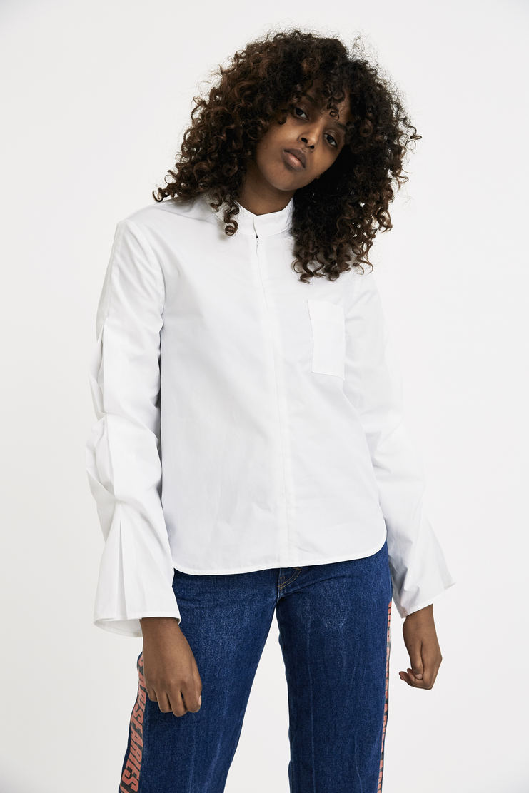 Vejas Gathered Puff Sleeve Blouse AW17 FW17 white top shirt cotton long sleeve