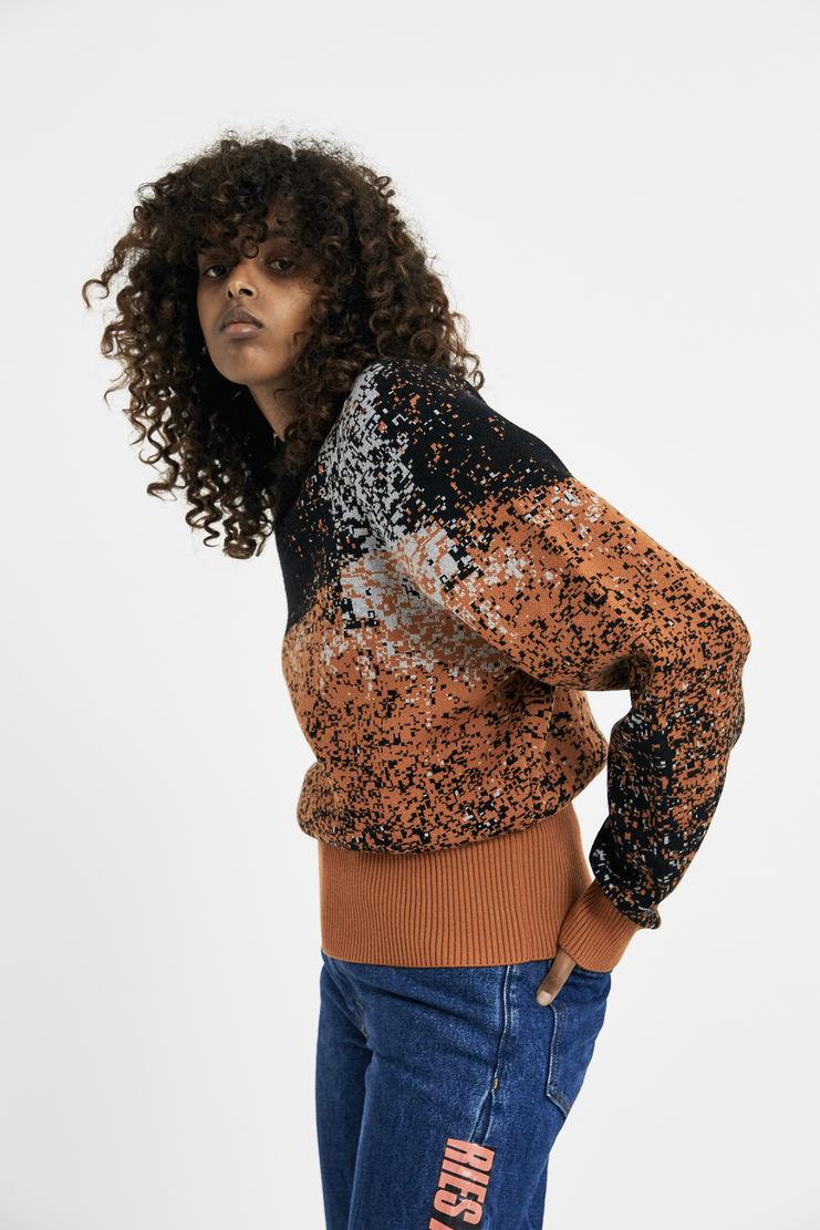Vejas Jaquard Vase Sweater aw17 fw17 orange knit jumper warm wool