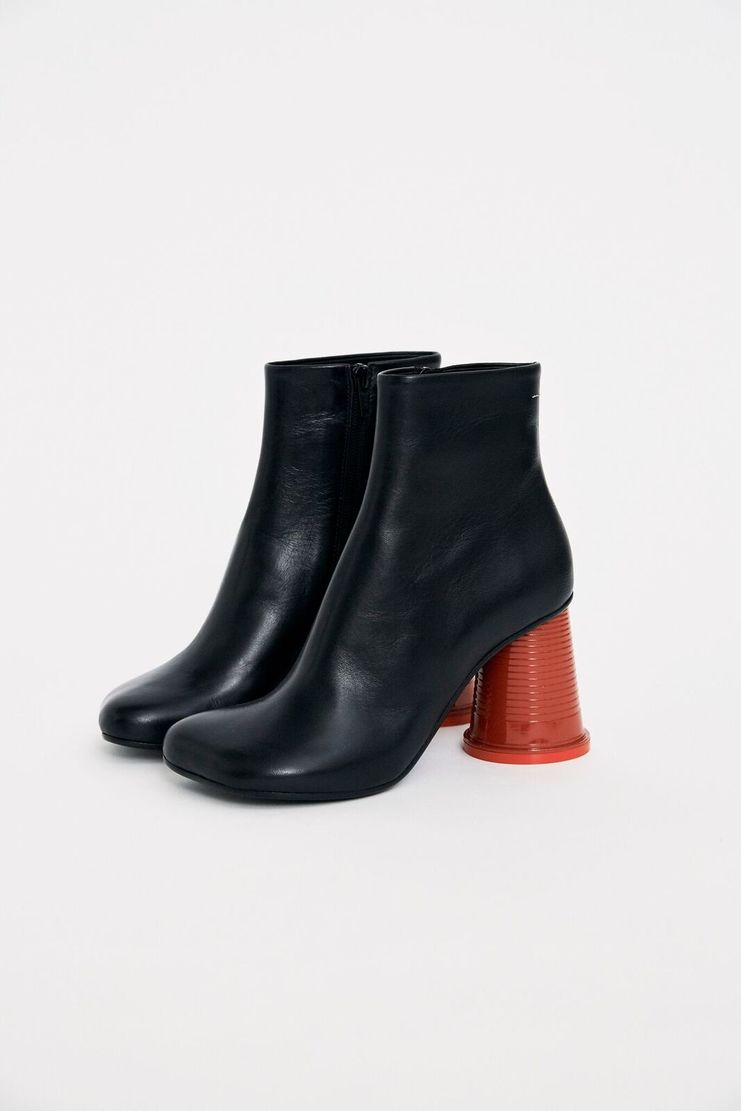 MM6 Black Cup Heel Boots ankle plastic aw17 a/w 17 boot shoe martin margeila leather red