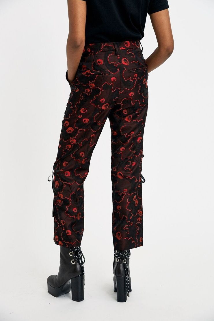 Noir Kei Ninomiya Black Ribbon Petal Pants Red Florals Straight Cut Maroon A/W 17 F/W 17 FW17 AW17