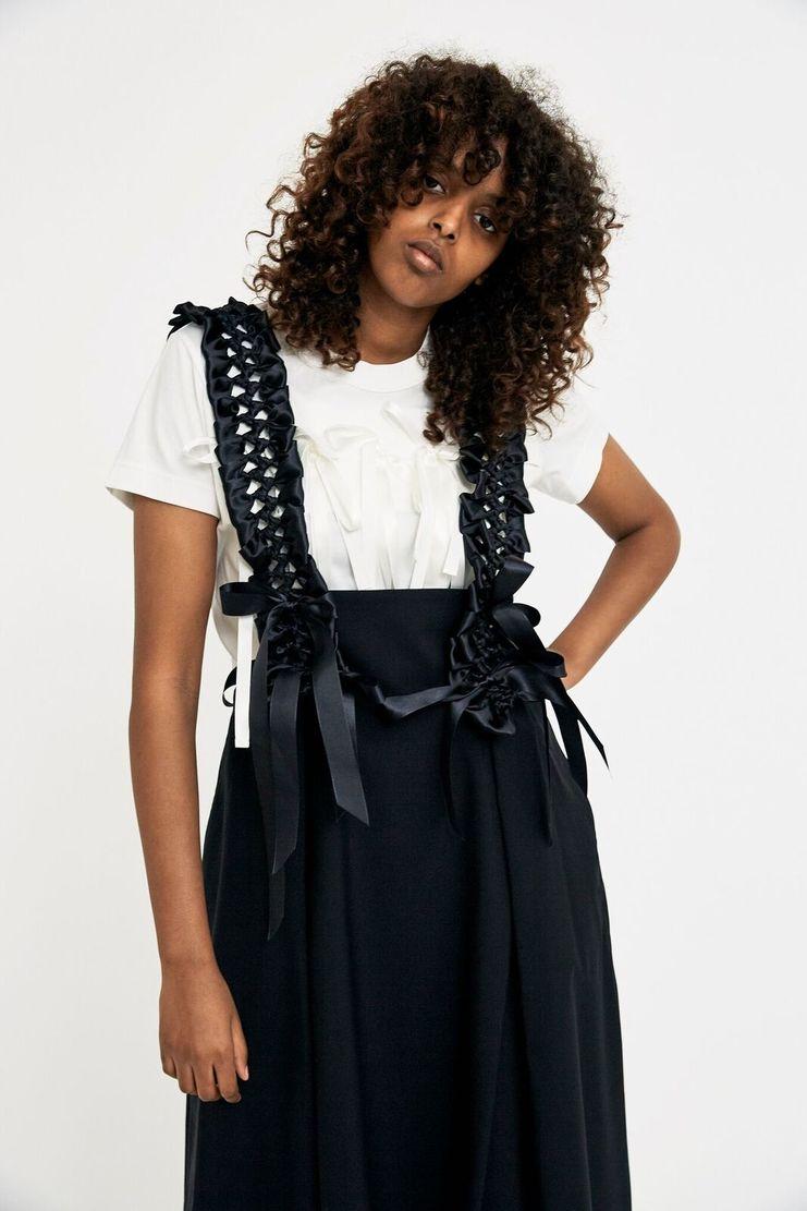 Noir Kei Ninomiya Black Jumper Skirt Strap Ribbon A/W 17 F/W 17 AW17 FW17