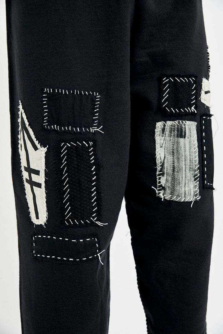 Heikki Salonen Black Patched Sweatpants AW17 FW17 AW/ 17 FW/ 17 Joggers Tracksuit Wide Leg Trousers Bottoms