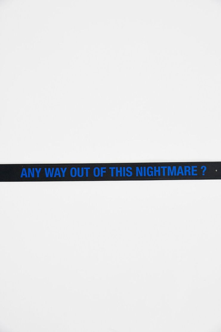 Belt with Print Raf Simons A/W 17 AW17 F/W 17 FW17 Accessories Black Blue Typographical