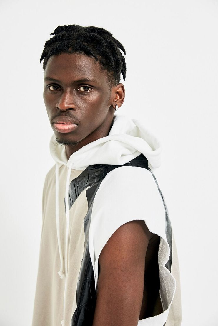 Raf Simons Beige Sleeveless Hoodie Colour Block Black White Taped Tape Jumper Pullover Top Hood A/W 17 F/W 17 AW17 FW17