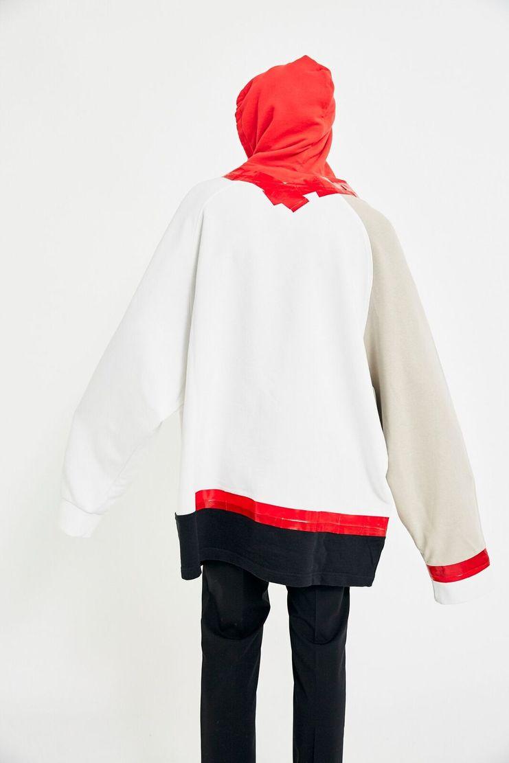 Raf Simons Colour Block Hoodie A/W 17 F/W 17 AW17 FW17 Sweater Jumper Multicolour Multicolor White Red Black Cream Beige Sand Pullover