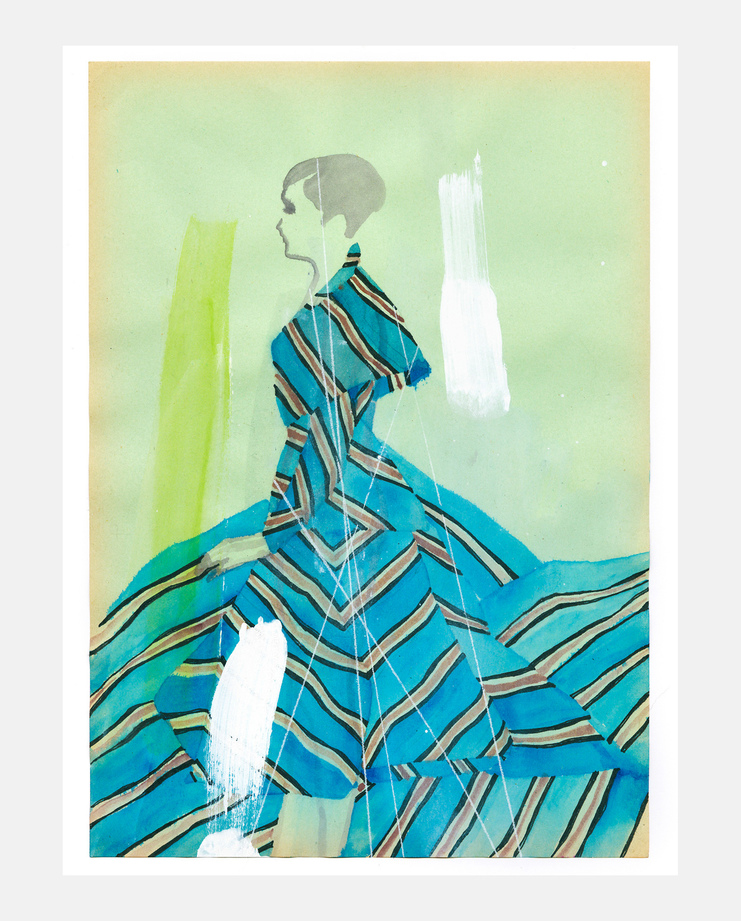 An original fashion illustration by Tina Berning of the Fendi S/S18 collection. Commissioned by SHOWstudio as part of the Milan Womenswear coverage.