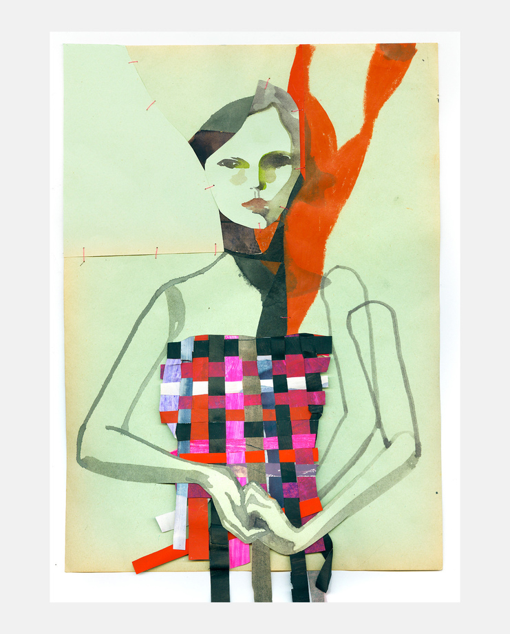 An original fashion illustration by Tina Berning of the Prada S/S18 collection. Commissioned by SHOWstudio as part of the Milan Womenswear coverage.