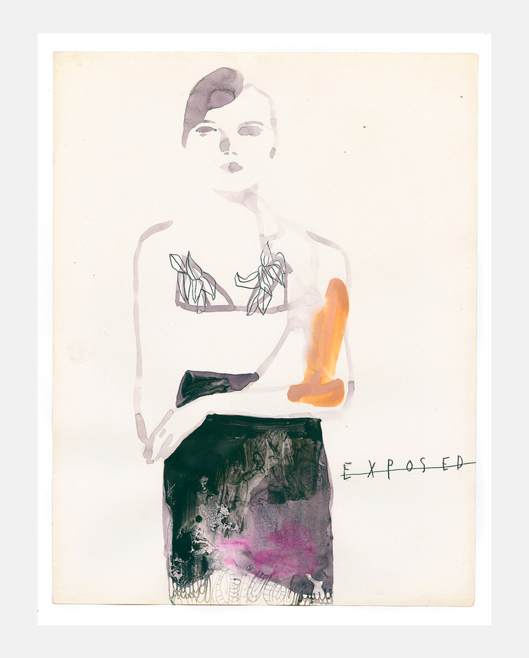 An original fashion illustration by Tina Berning of the Francesco Scognamiglio S/S18 collection. Commissioned by SHOWstudio as part of the Milan Womenswear coverage.