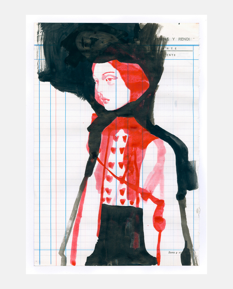 An original fashion illustration by Tina Berning of the Gucci S/S18 collection. Commissioned by SHOWstudio as part of the Milan Womenswear coverage.