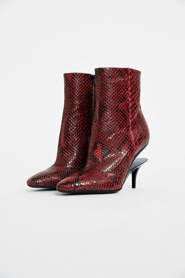 Maison Margiela Python Ankle Boots Black Red Snakeskin Zip Fastening Shoes Accessories A/W 17 F/W 17 FW17 AW17