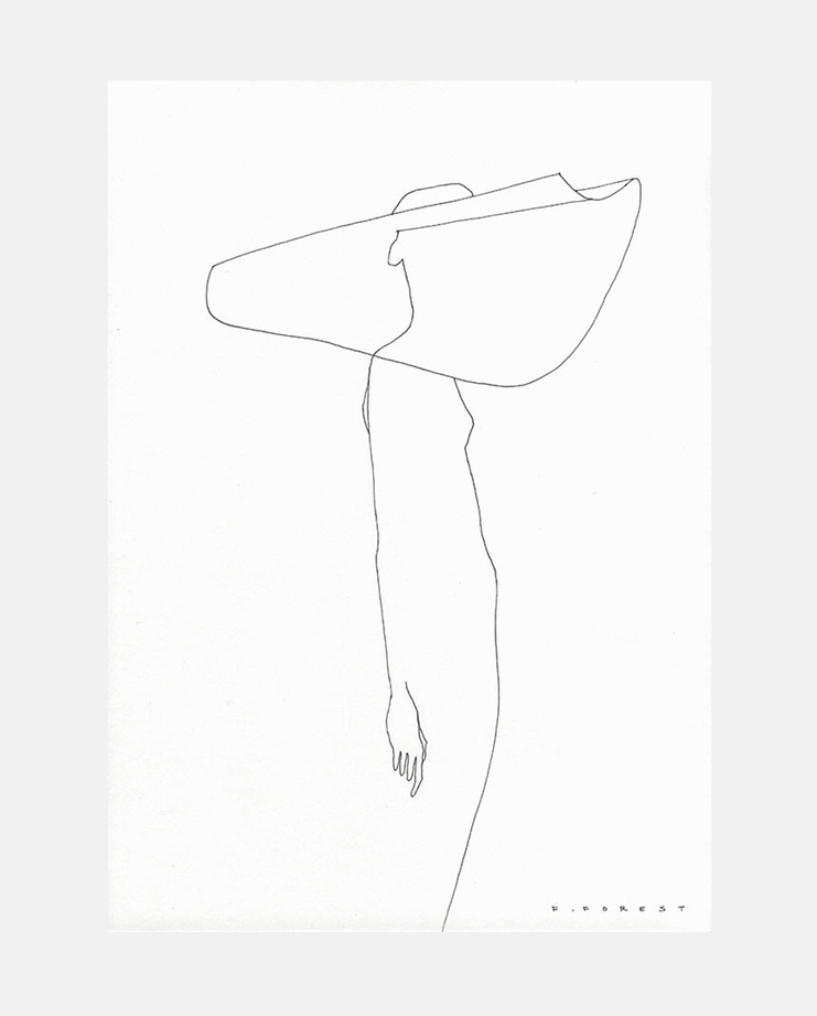 An original fashion illustration by Frédéric Forest of the Jacquemus S/S 18 collection. Commissioned by SHOWstudio as part of the Paris Womenswear coverage.