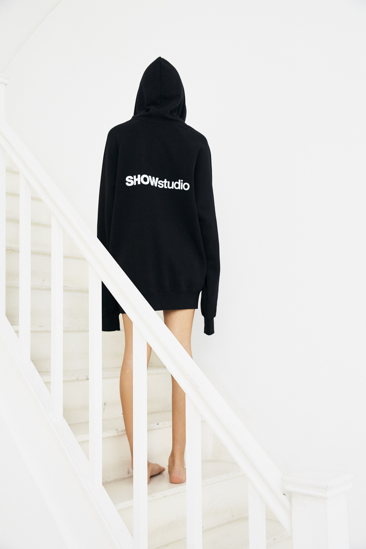 SHOWstudio Black Hoodie Earphone cord hole logo merchandise hooded sweater cotton jumper