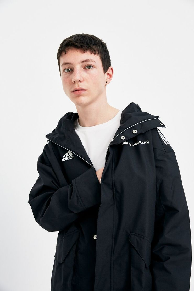 Gosha Rubchinskiy x Adidas Sports Jacket A/W 17 AW17 FW17 F/W 17 Coat Winter Raincoat Black White Zip Button Hood Hoodie Rubchinsky